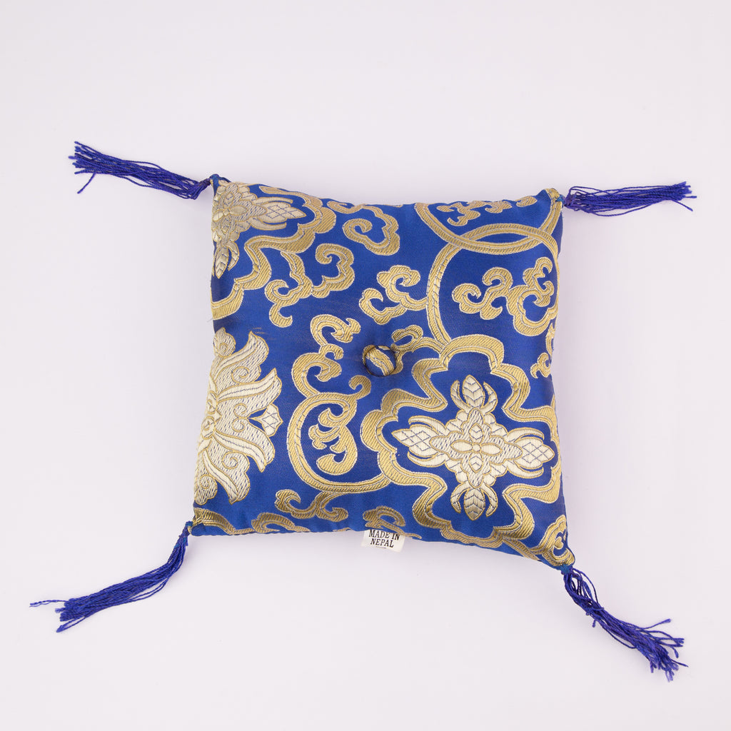 Tibetan Handmade Silk Square Cushion Blue