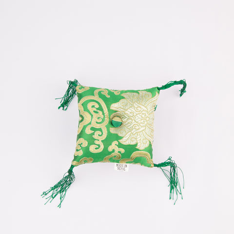 Tibetan Handmade Silk Square Cushion Green