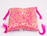 Tibetan Handmade Silk Square Cushion Pink