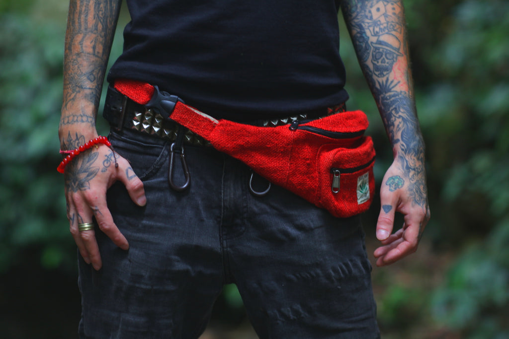 Durable Ecofriendly Hemp Red Waist Pack