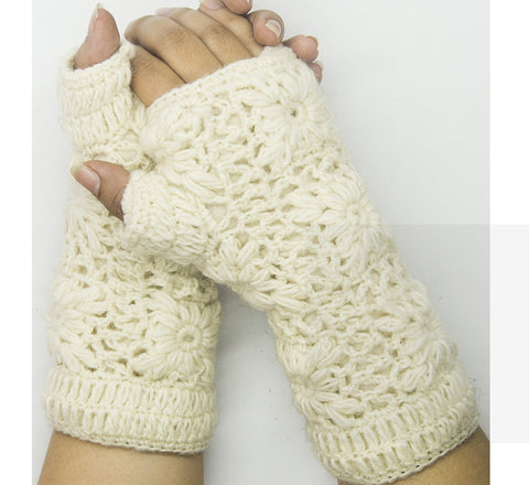 White Woolen Hand Gloves
