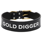 Leather Dog Collar - GOLD DIGGER