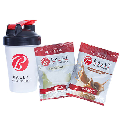 BALLY TOTAL FITNESS® 12oz Shaker Cup Sampler. Includes 1 Vanilla and 1 Chocolate Mix
