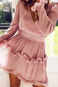 Elegant Pleated Chiffon Ruffle Dress