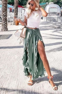 High Waist Split Summer Wide Leg Trousers