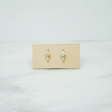 Mini shield studs with opal in 14K gold