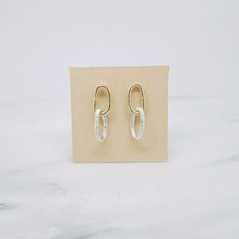 Bold chain earrings-double in 14K gold