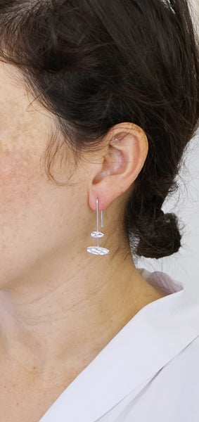 Textured bar drop earrings-double