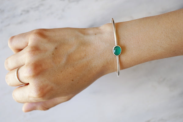 Cuff bracelet with green chalcedony