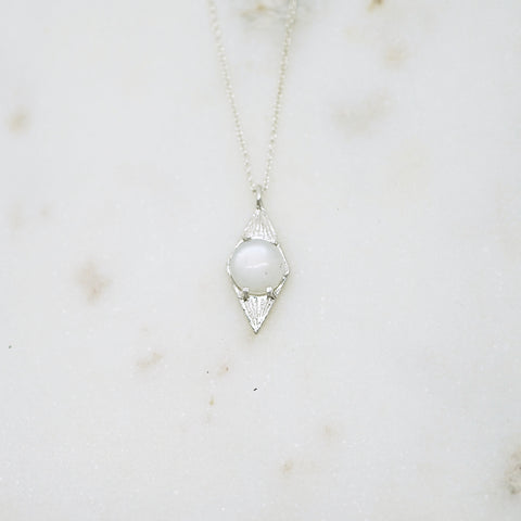Diamond shaped pendant necklace with moonstone