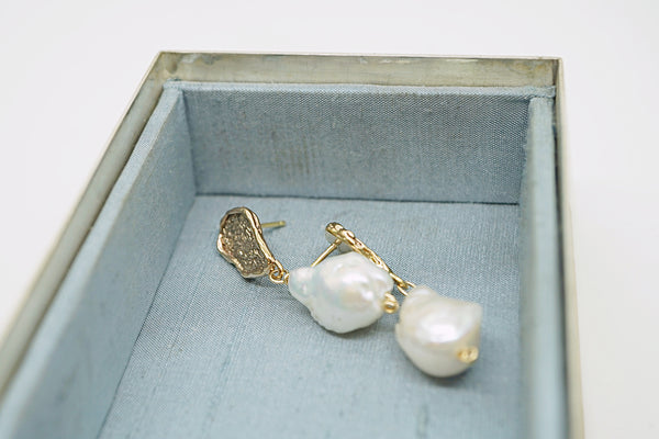 Textured nugget earring with Baroque pearls-silver