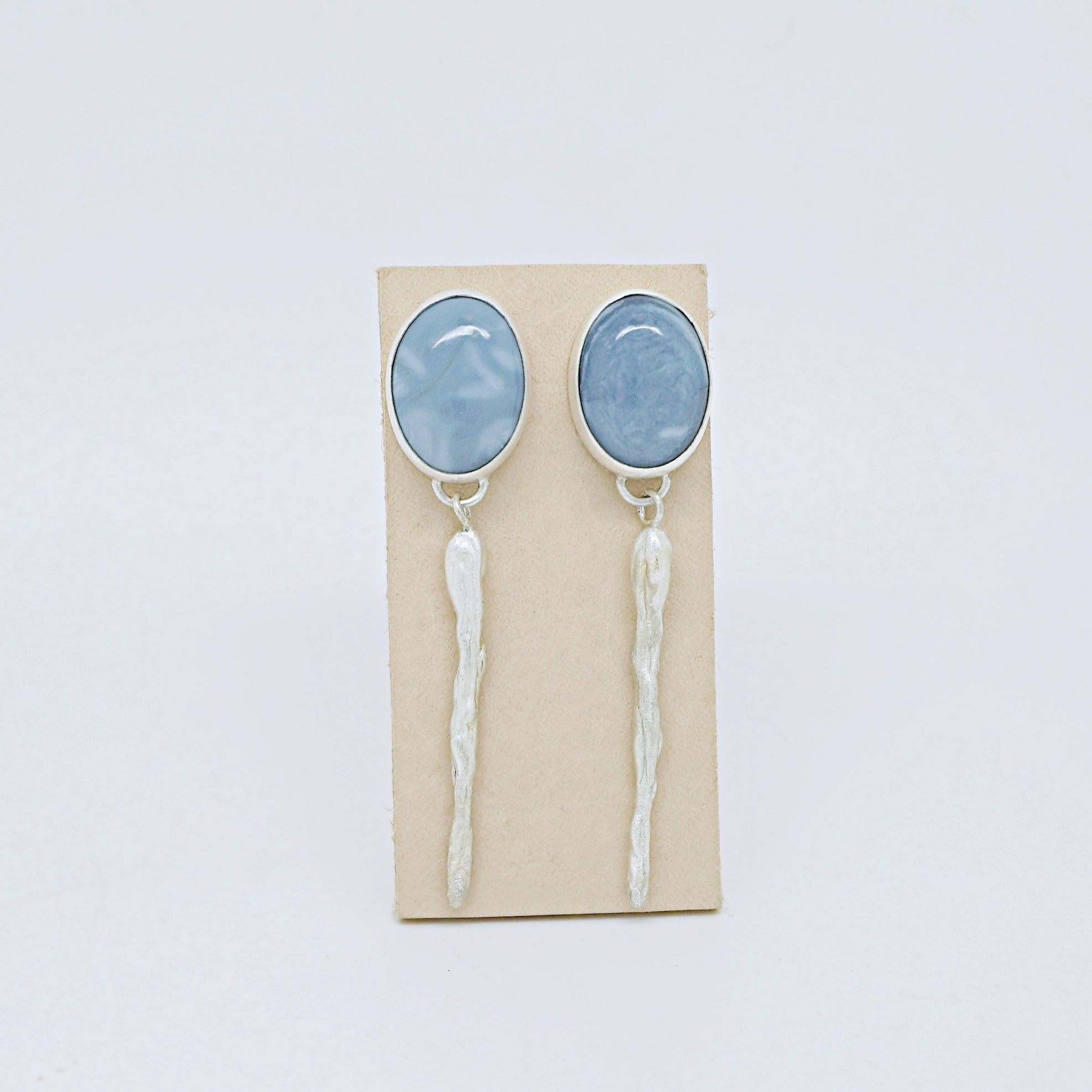 Blue opal earrings with silver drops
