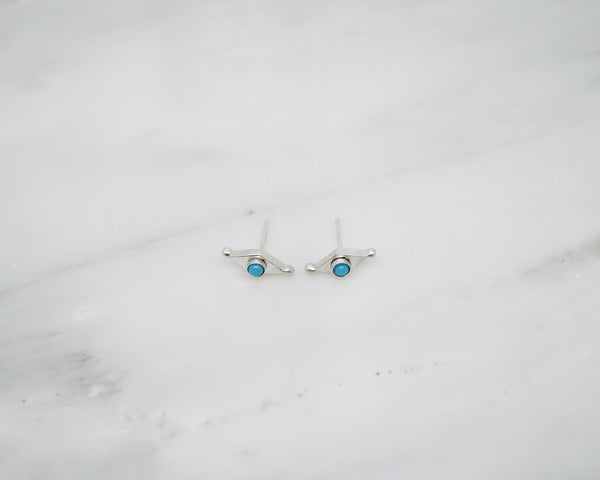Diamond shape studs with turquoise