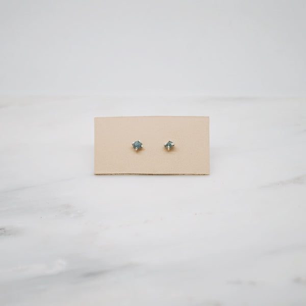 Raw diamond studs-blue