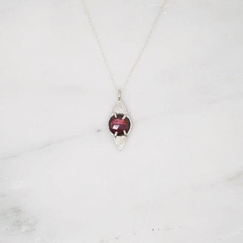 Diamond shaped pendant necklace with garnet