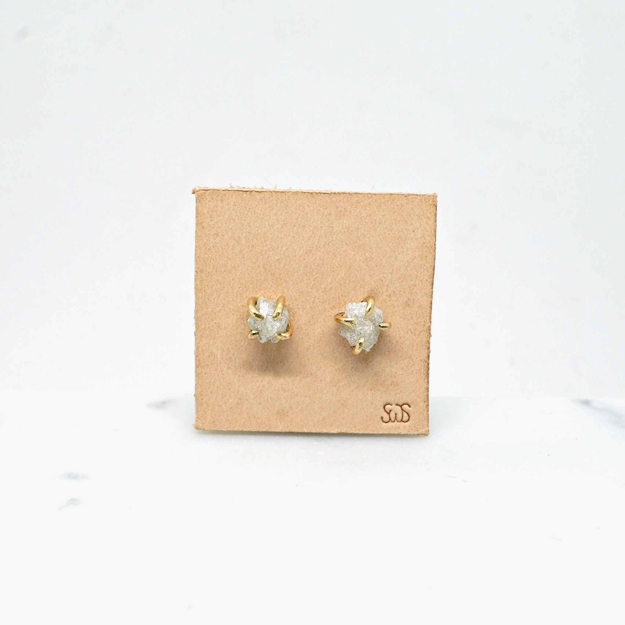 Raw Diamond Studs in gold -white