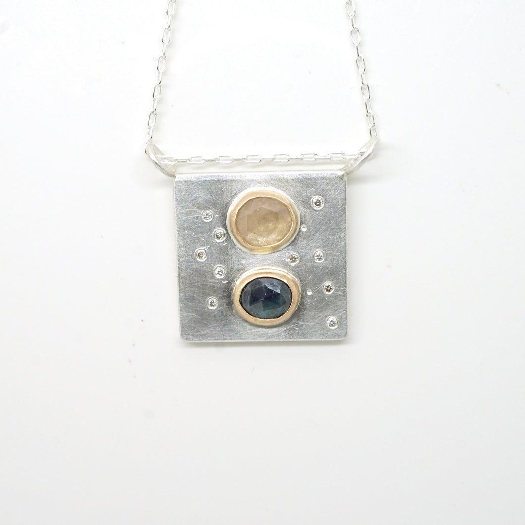 Art pendant necklace with sapphire and diamond
