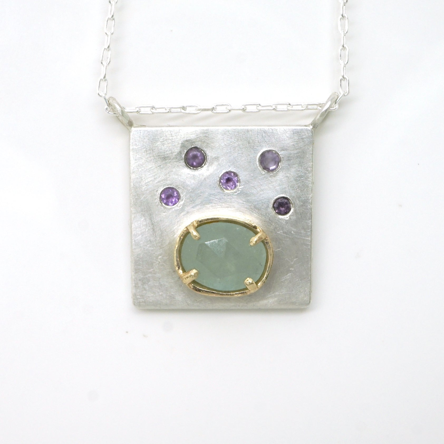 Art pendant necklace with amethyst and aquamarine