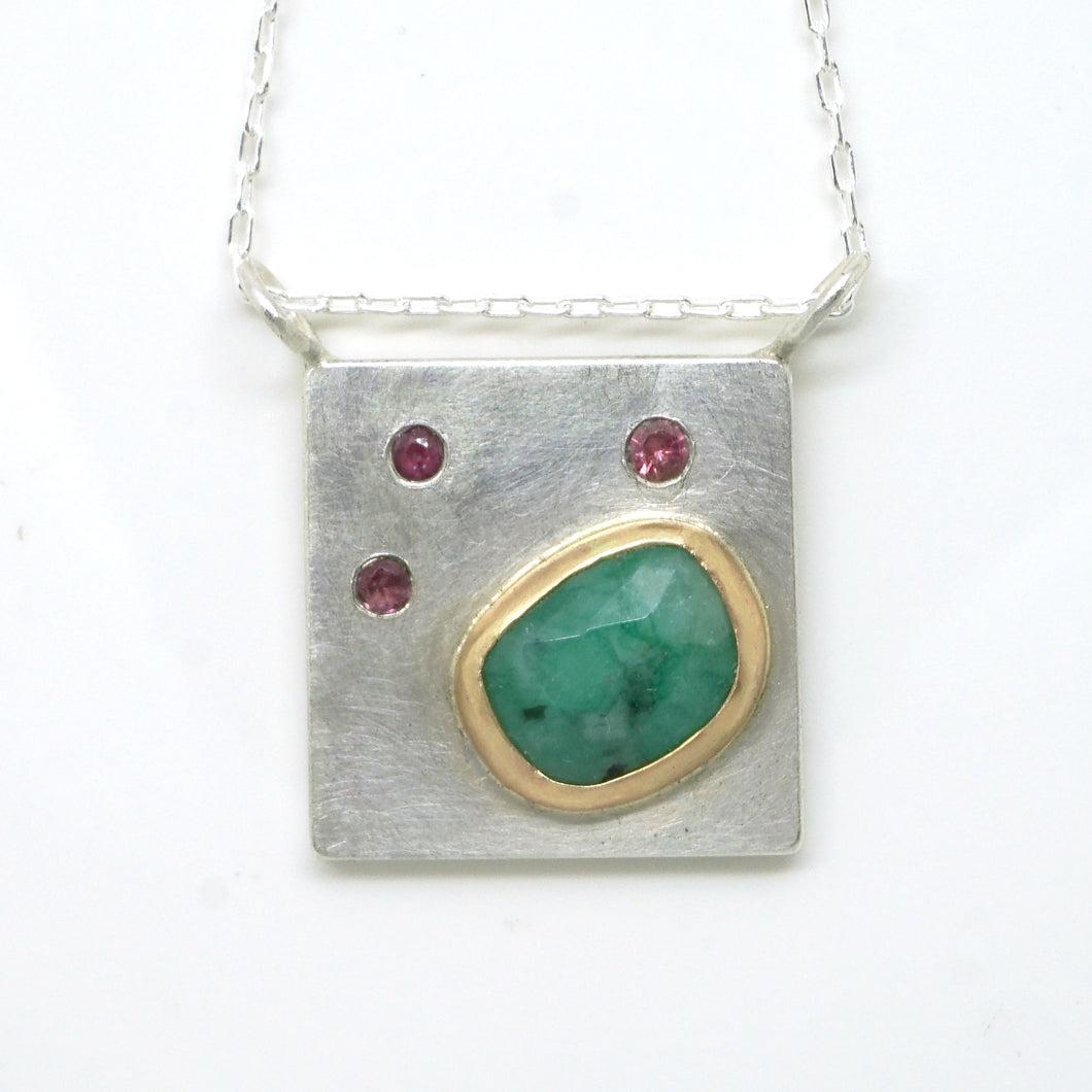 Art pendant necklace with pink tourmaline and emerald