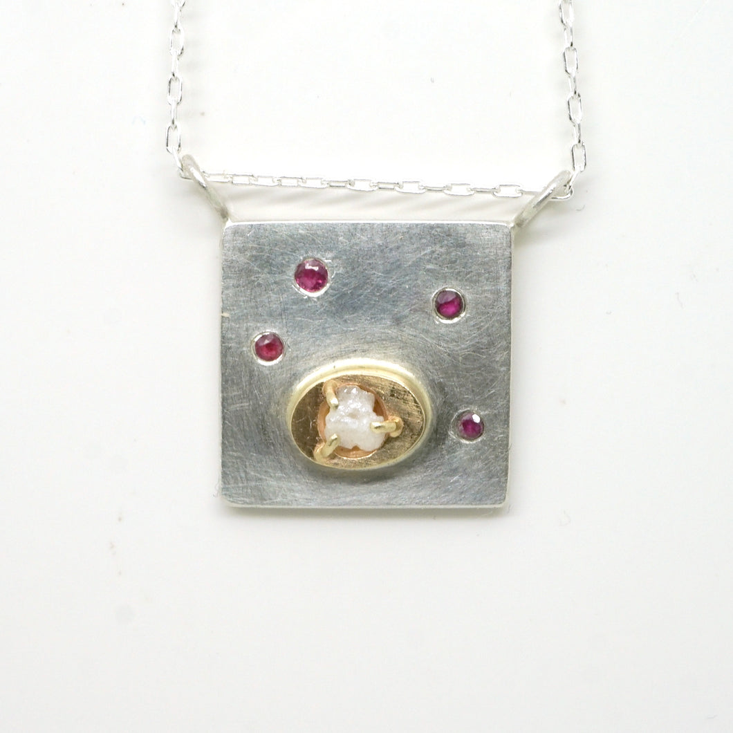 Art pendant necklace with ruby and raw diamond
