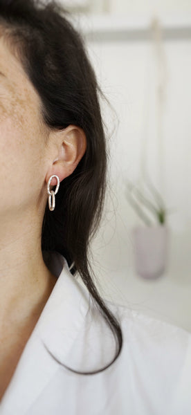 Bold chain earrings-double