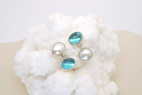 Apatite and pearl earrings