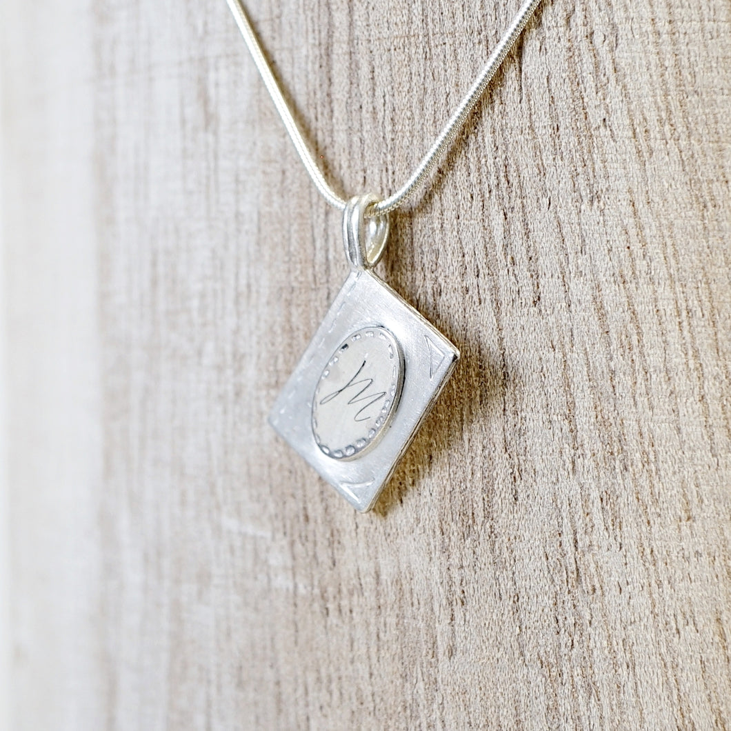 Initial book pendant necklace-silver & silver