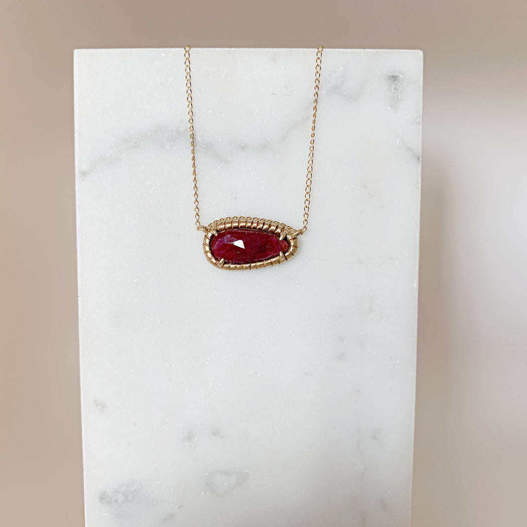 Soleil Pendant Necklace with Ruby in 14k gold