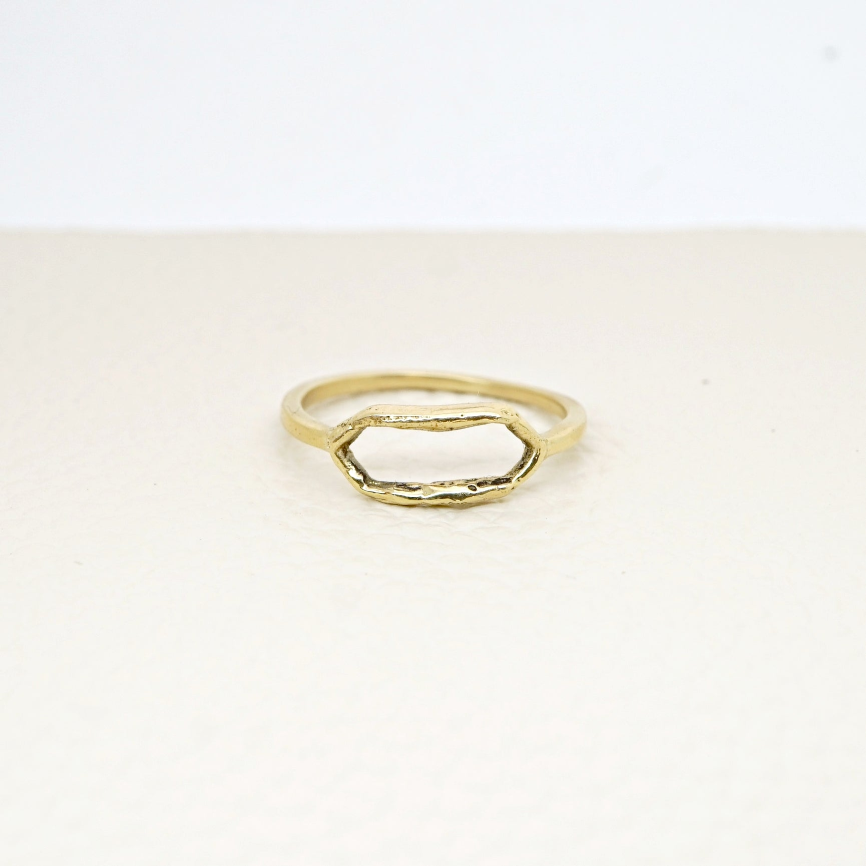 Open signet ring in 14k gold