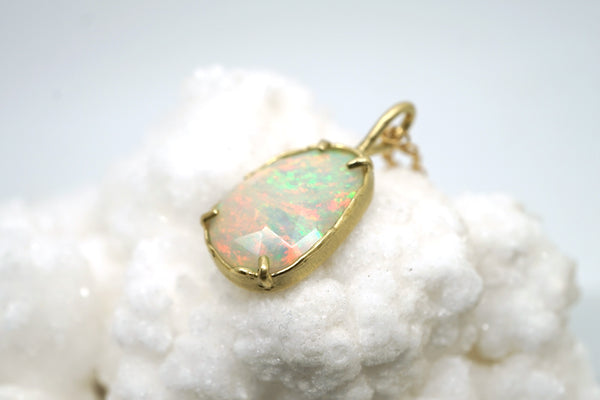 Opal Pendant with organic texture in 14k gold