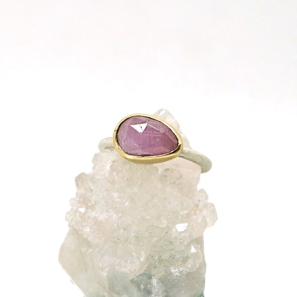 Pink sapphire solitaire ring