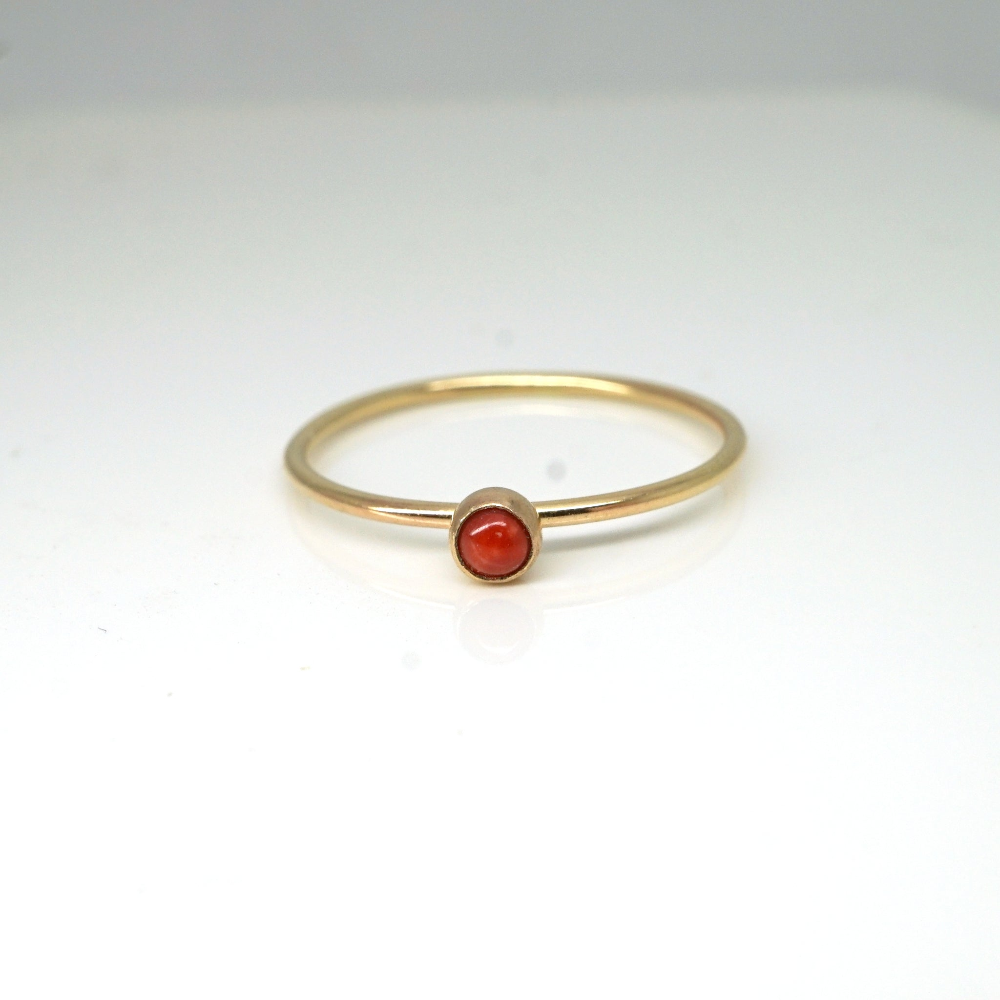 Rainbow Bezel Ring-Coral