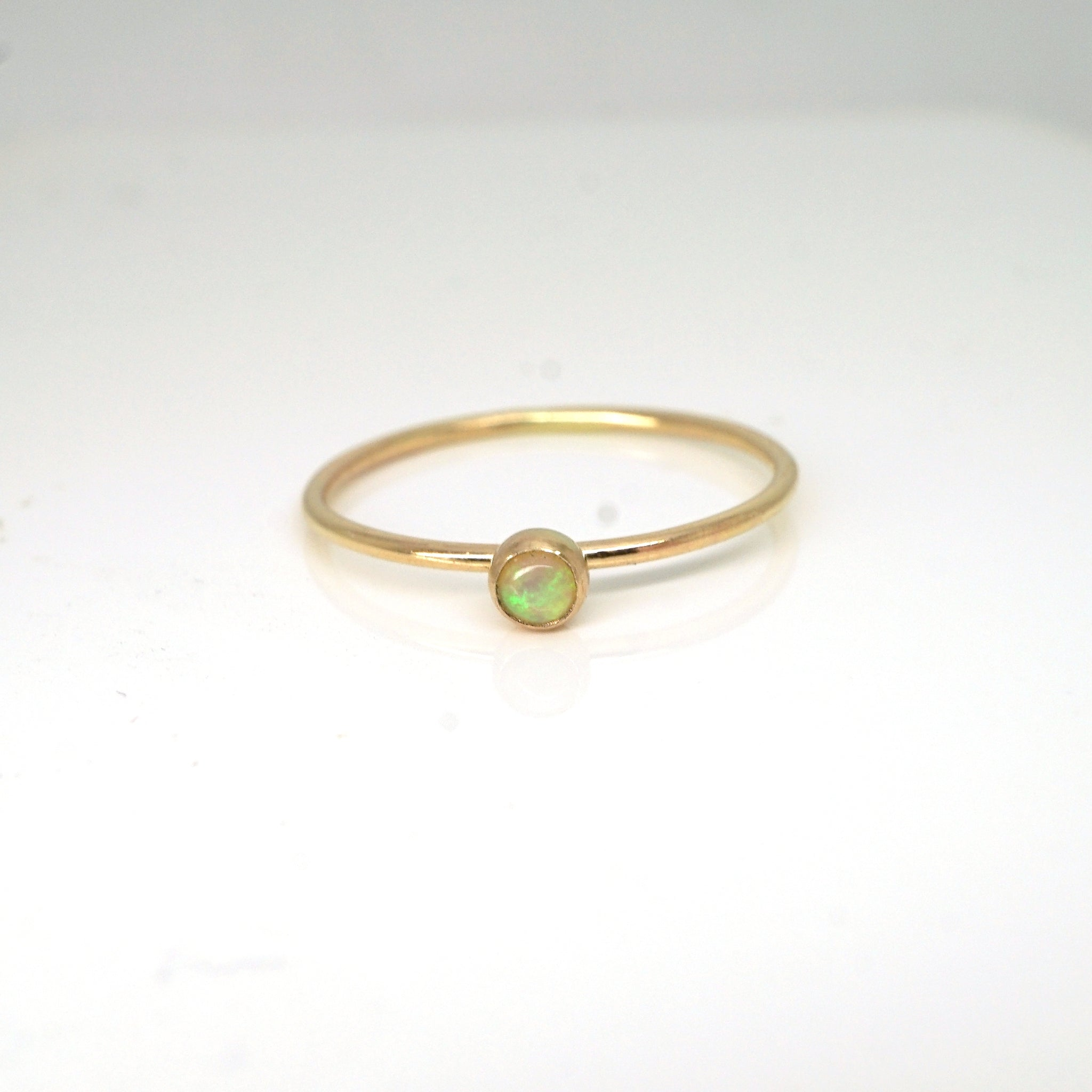 Rainbow Bezel Ring-Opal