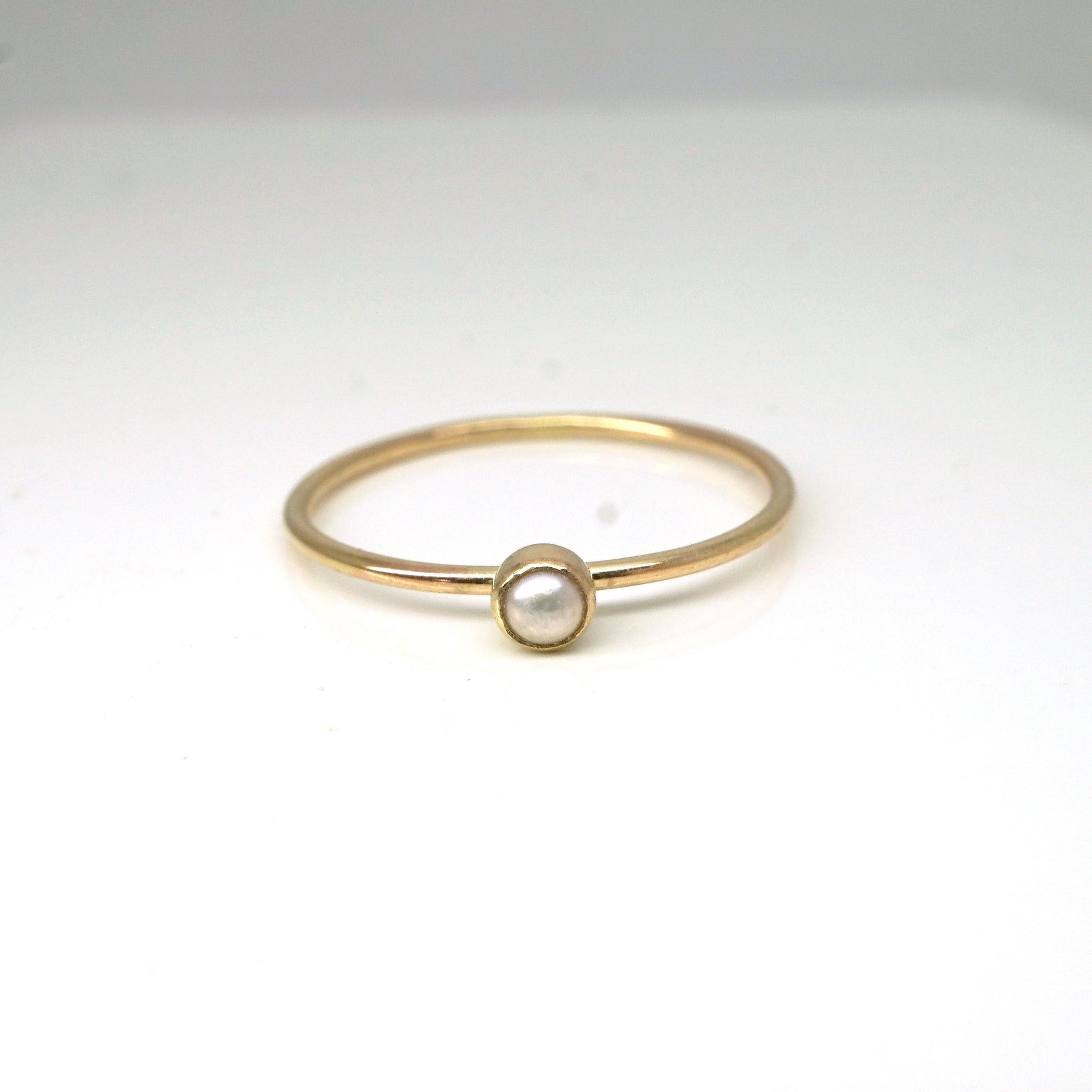 Rainbow Bezel Ring-Pearl