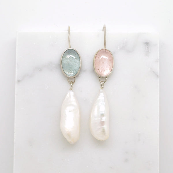 Mix + match aquamarine earrings with baroque pearls