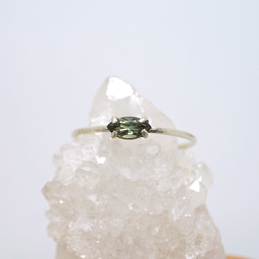 Bicolor green tourmaline solitaire ring