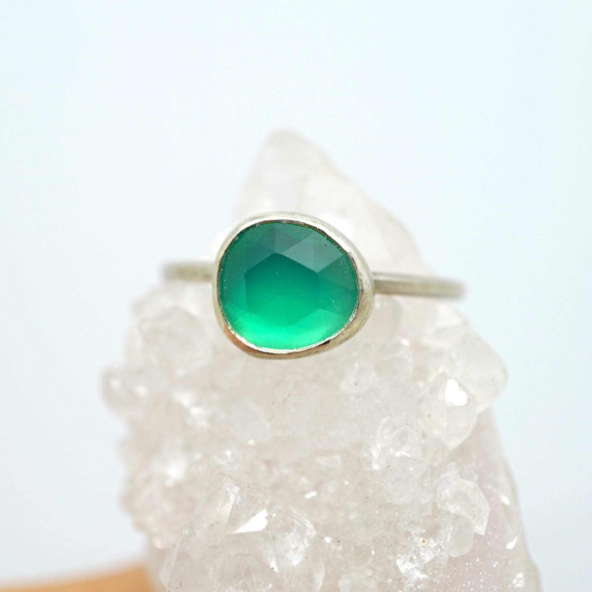 Green chalcedony solitaire ring