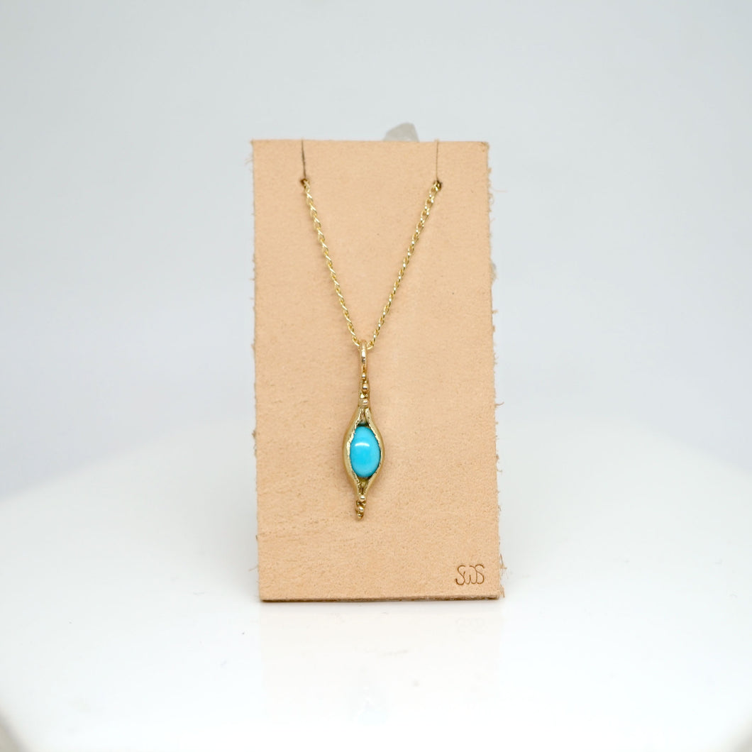 Pod pendant necklace with turquoise