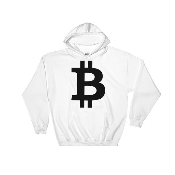 Bitcoin / BTC B Heavy Blend Hoodie-White- Crypto & Proud