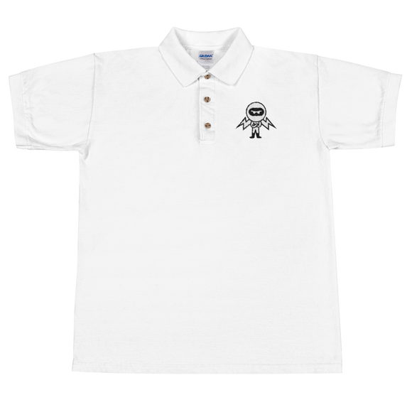 Deviant Coin / DEV BW Polo-White- Crypto & Proud