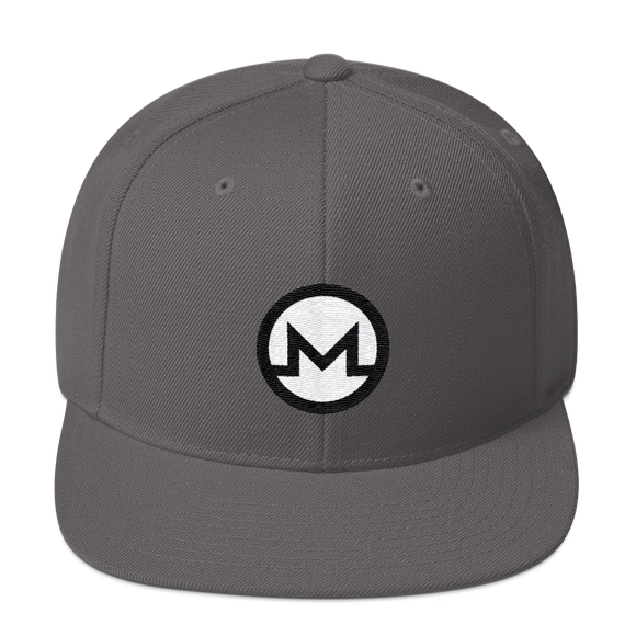 Monero / XMR RW Snapback Wool Blend Hat-Dark Grey- Crypto & Proud