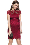 Short Sleeve Lace Dress in Wine