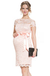 Short Sleeve Lace Dress in Baby Pink