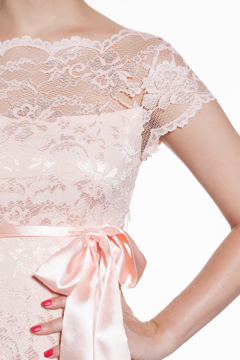 Short Sleeve Lace Dress Baby Pink