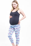 Over Belly Print Capri Active Pants