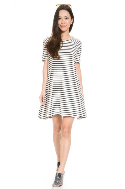 Front side of Striped A-line Maternity and Nursing Dress