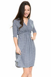 Tie Waist Print Maternity and Nursing Dress
