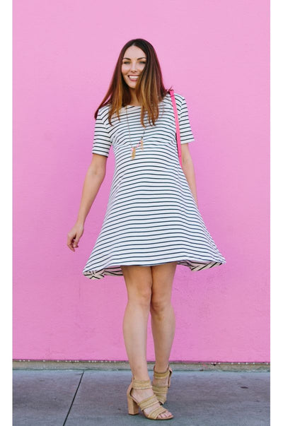 Breton striped maternity dress