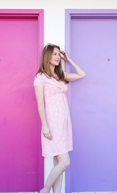 Pink Summer Dress for Breastfeeding