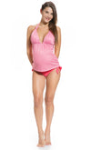 Print Tie Neck Maternity Tankini Set